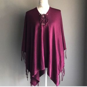 Chico's Fringed Poncho Eggplant Color One Size
